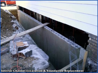 Interior Channel Basement Waterproofing Excavation and Foundation Repair